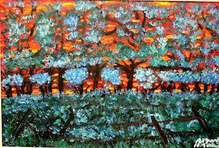 Outsider Art, Alyne Harris, Sun Setting in the Woods