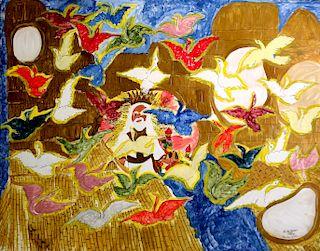 Outsider Art, Linda Bruton, Rainbow Doves