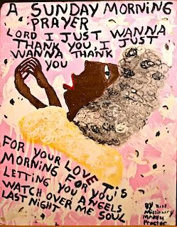 "Outsider Art, Missionary Mary Proctor, Self-Portrait - ""A Sunday Morning Prayer"""