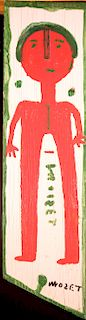 Outsider Art, Mose Tolliver, Red Self-Portrait