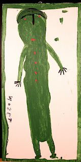 Outsider Art, Mose Tolliver, Portrait of Willie Mae (Wife)