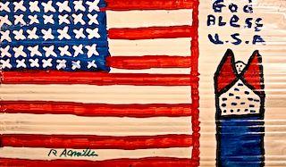 Outsider Art, RA Miller, Flag with Angel