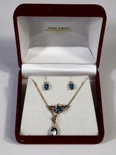 14k Blue Topaz & Diamond Set