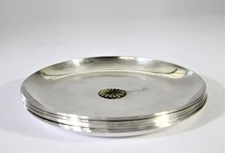 A Set of 6 Pure Japanese Silver Plates