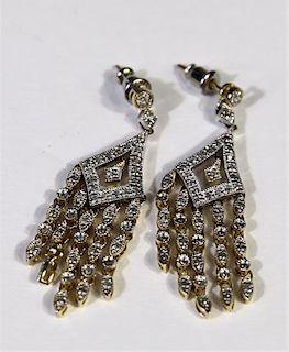 14k Gold Diamond Chandelier Earrings