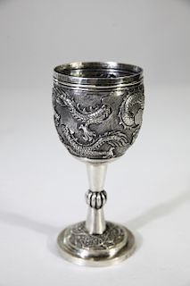 Early 1900's Chinese Repousse Silver Goblet