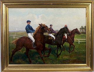 H Wolff, German Equestrian Oil / Canvas