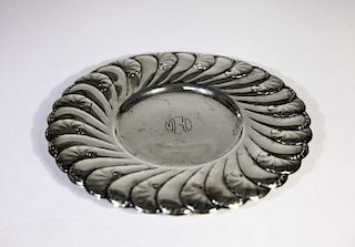 Monogrammed Scalloped Sterling Plate 13.2 OZT