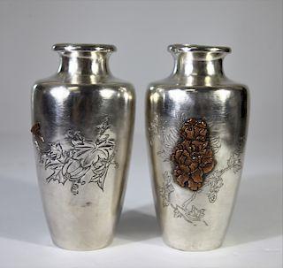 Pair of Nomura Silver Vases