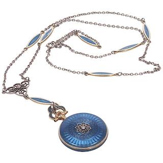 Concord Watch Co. Diamond Enamel Pendant Watch Necklace, 1915