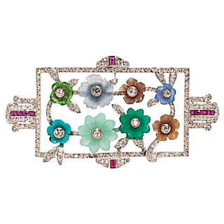 Platinum Diamond and Carved Gemstone Flower Brooch, 1930s