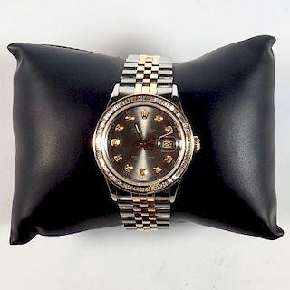 Rolex YG/SS DateJust Baguette Diamond 36mm Watch