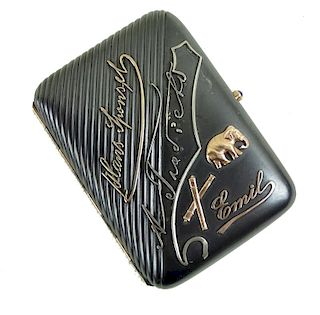 Possibly Faberge, Gun Metal & Gold Case