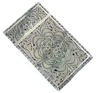 Russian 84 Silver Card Case Having Faberge Mark