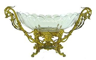A French Unsigned Baccarat Bronze Mounted Centerpi