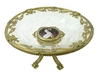 A French Bronze Mounted Enamel Insert Compote