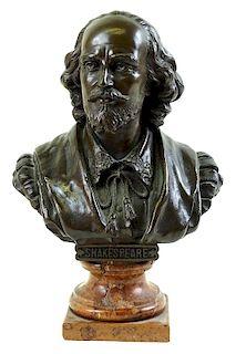 Artist Signed, Shakespeare Bronze Bust