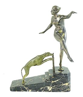 Art Deco Mixed Metal Sculpture, Dancing Women And