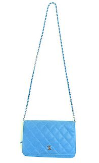 Chanel Caviar Wallet on Chain Blue - Authentic