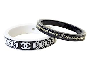 Pair of Chanel Resin Bangles
