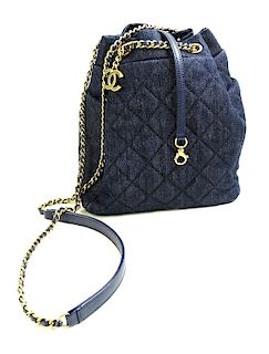 Chanel Dark Denim Drawstring Bag, Like New in Box
