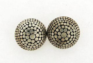 Large John Hardy Sterling Silver Dot Circle Earrings 28mm