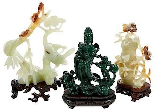 Three Carved Stone Figural Objects