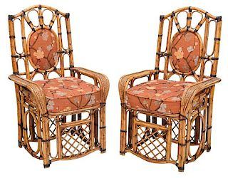 Pair Bamboo Caned and Upholstered Armchairs