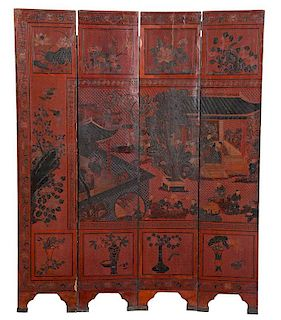 Chinese Lacquered Floor Screen