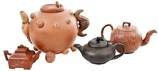 Group of Four Yixing Teapots