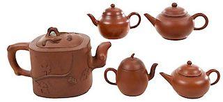 Group of Five Yixing Teapots