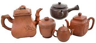 Three Yixing Teapots and Jar, One Yokode Kyusu