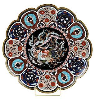 Japanese Cloisonne Figural Phoenix Plate