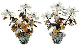 Pair of Jade Chrysanthemum Arrangements