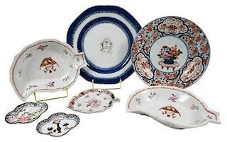 Seven Chinese Export and Famille Rose Dishes