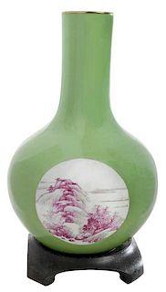 Yellow Green Chinese Bottle Vase