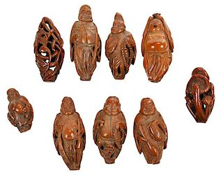 Group of Assorted Chinese Nut Carved Beads