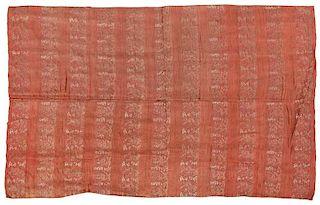 Chinese Pink Silk Brocade Panel