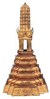 Thai Temple Form Gilt Bronze Censer