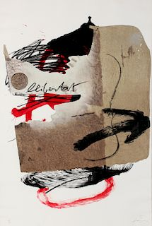 ANTONI TAPIES (1923-2012) PENCIL-SIGNED LITHOGRAPH