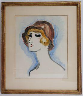 K. Van Dongen, Tete de femme au Chapeau, 1925-30