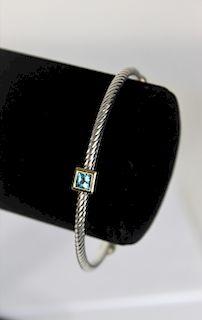 David Yurman Sterling Topaz Bangle Bracelet