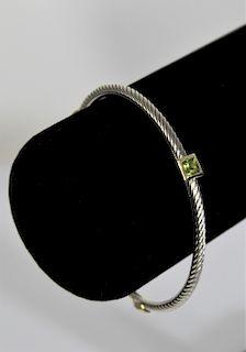 David Yurman Sterling Peridot Bracelet