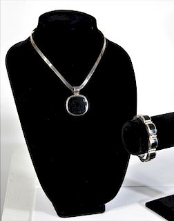 Mexican Sterling Silver Onxy Necklace & Bracelet