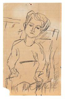Osvaldo Licini (Monte Vidon Corrado  1894-Monte Vidon Corrado 1958)  - Untitled (Bimba seduta), 1926