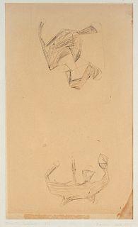 Lucio Fontana (Rosario 1899-Varese 1968)  - Studio per concetto spaziale, 1951-55
