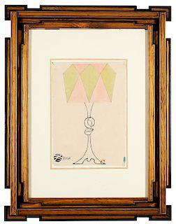 Giacomo Balla (Torino 1871-Roma 1958)  - Progetto per lampada da tavola, 1918/20