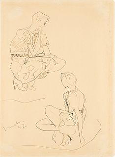 Lucio Fontana (Rosario 1899-Varese 1968)  - Studio per figura femminile, 1947