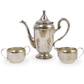 (3 Pc) Sterling Silver Tea Set