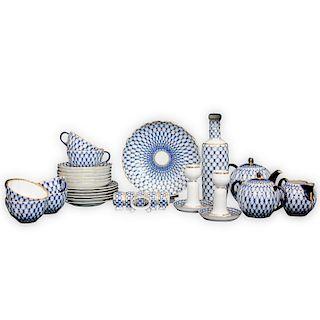 """(31 Pc) Russian Imperial Lomonosov """"Cobalt Net"""" Porcelain Set"""